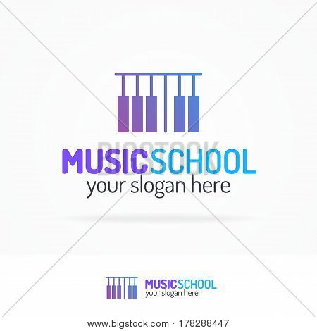 Music school logo set modern color style isolated on white background for use music store, record company, audio system shop, dj market etc. Vector Illustration
