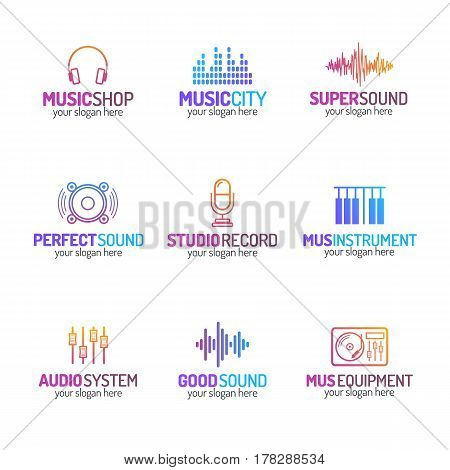 Music shop logo set with different icons color modern style isolated on white background for use music store, sound company, audio system shop, equipment market, dj etc. Vector Illustration