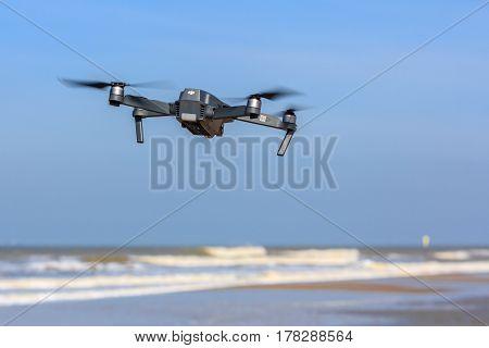 Kijkduin the Netherlands - March 24 2017: low flying drone UAV