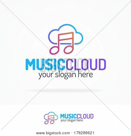 Music cloud logo set modern color style isolated on white background for use music storage, sound company, audio system shop etc. Vector Illustration