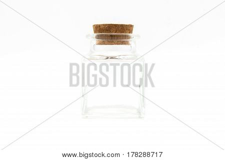 Empty little bottles with cork stopper isolated on white background