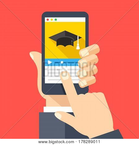 Online courses website, video tutorials app on smartphone screen. Online education, e-learning. Hand holding smartphone, finger touching screen. Modern flat design graphic objects. Vector illustration