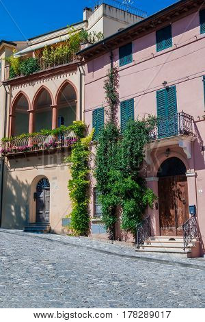 street in Santarcangelo di Romagna Italy Europe