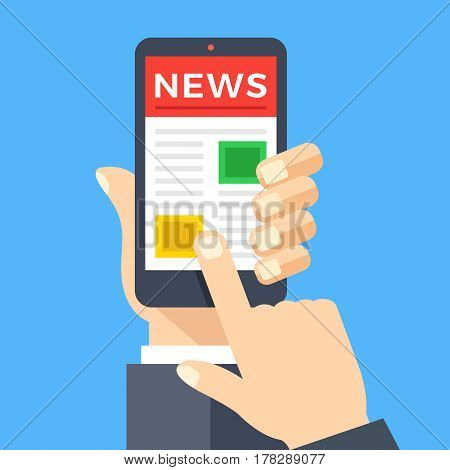 Mobile news app on smartphone screen. News reader, newspaper website concepts. Hand holding smartphone, finger touching screen. Modern flat design graphic elements. Creative vector illustration