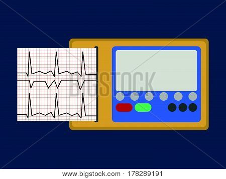 Ecg. Medical Object Flat Icon. Vector Illustration.