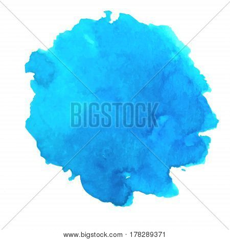 Isolated vector watercolor blue splash. Abstract cyan blot background. Sea tropical ocean lagoon element. Design element. Azure blob