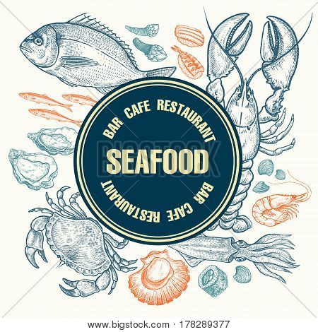 Seafood Kitchen design. The poster for restaurants cafe menu. Vintage illustration art. Hand drawing sketch. Topic animals under water. Fish shellfish lobster crab squid sushi space for text.
