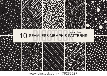 Collection of swatches memphis patterns - seamless. Retro fashion style 80-90s. Monochrome mosaic textures.