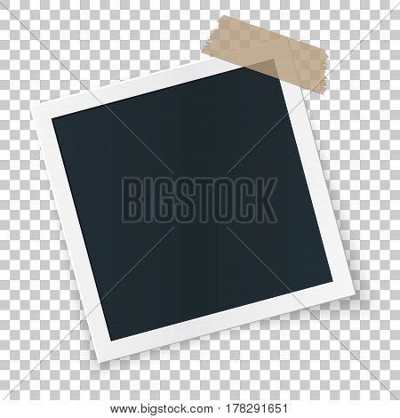 Square rotated image frame concept, single isolated object sticked with beige tape pieces on transparent background. Vector detailed illustration edge for images and pictures.