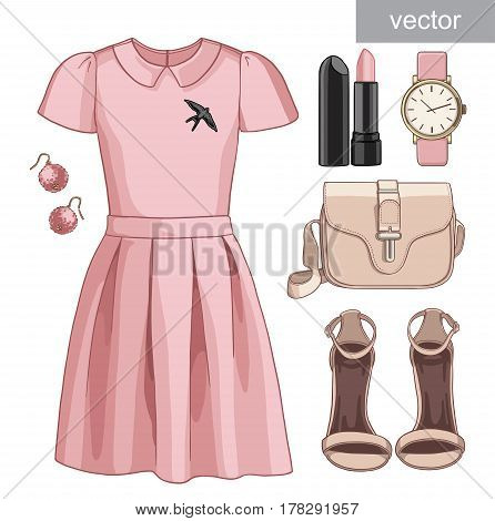 Lady fashion set of spring, summer season outfit. Illustration stylish and trendy clothing. Dress, bag, accessories, sunglasses, high heel shoes. Vector.