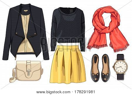 Lady fashion set of autumn, spring season outfit. Illustration stylish and trendy clothing. Skirt, jacket, jacket, scarf, watch, handbags, ballet shoes of mouse.
