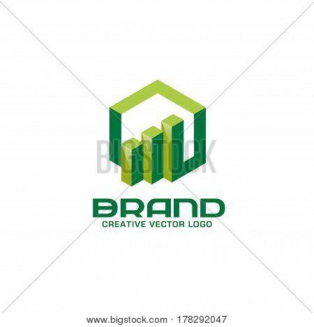 Business finance logo. Arrows and info graphic 3d bar logo,  vector logo concept. Business economic logo