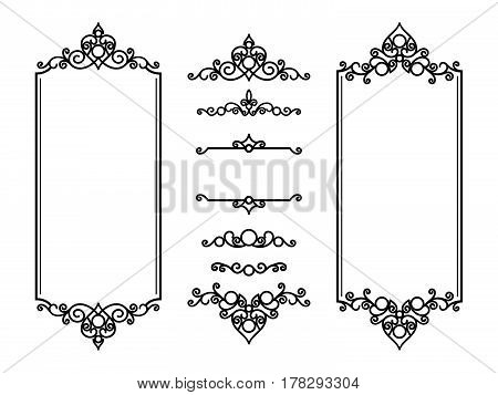 Vintage frames and vignettes, set of swirly decorative design elements in retro style, scroll embellishment on white poster