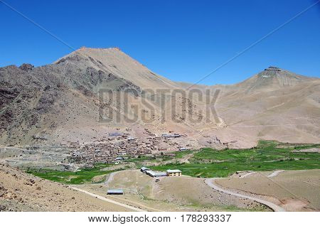 Traditional village in the Himalayan mountains near Kargil in Ladakh, India