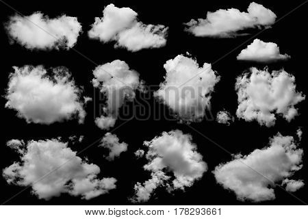 Set of clouds group white on isolated elements black background.