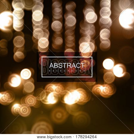 Vector warm abstract background of blurry defocused bokeh lights. Vector festive illustration.