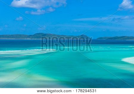 Amazing Tropical Seascape Of Turquoise Blue Water And Coral Reef Islands