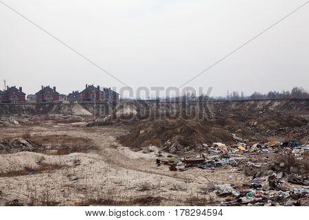 New luxury houses near the city landfill in Kyiv Ukraine.