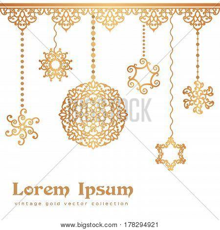 Vintage gold pendants, swirly decoration on white background, golden invitation or greeting card design