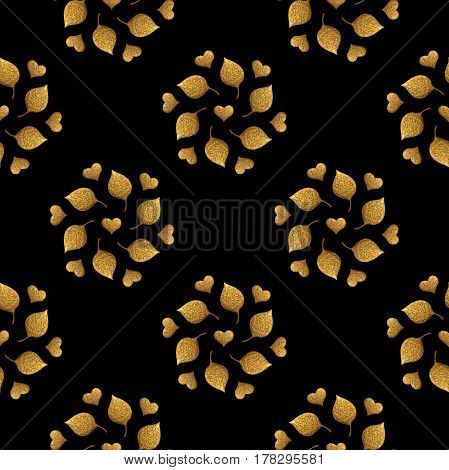 Leaves pattern. Gold hand painted seamless background. Abstract leaf illustration.