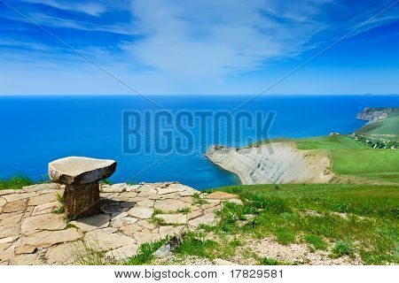 Stone Seat Above The Sea