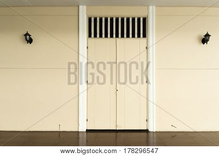 Old wooden door and outdoor photo stock