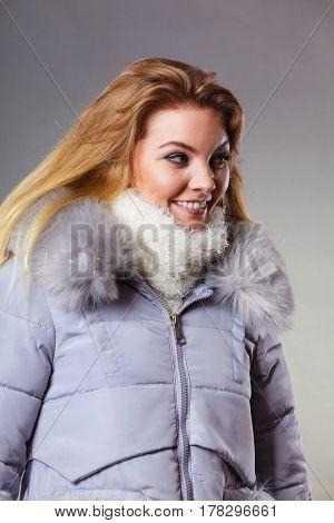 Woman Wearing Winter Warm Furry Jacket
