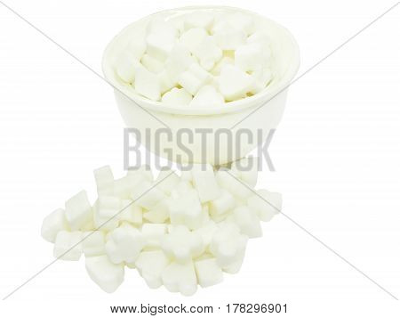 sugar in sugar-basin isolated on white background