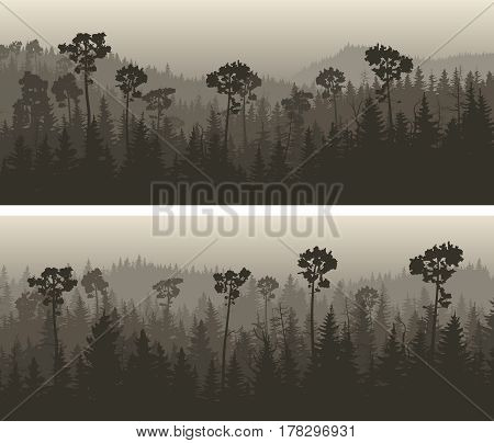 Set of horizontal wide banners coniferous foggy forest in the hills in dark tones.