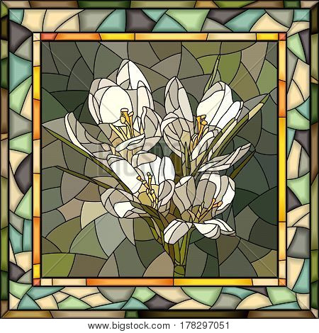Vector mosaic of white crocus in square stained-glass window frame.