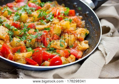 Vegetable saute in frying pan vegetarian food