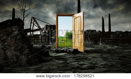 opened door. A portal between nature and ecological catastrophe, apocalypse. 3d rendering