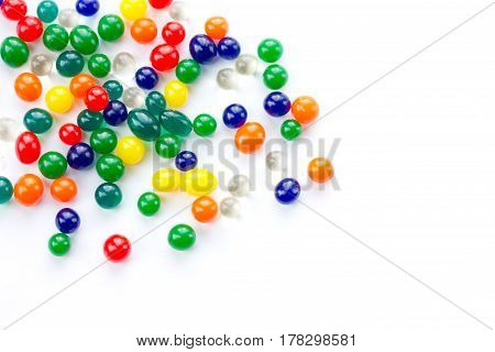 Color balls colored polymer gel hydrogel beads isolated on white background poster