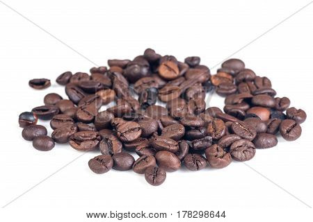 Coffee beans isolated on white background. Aromatic cofee