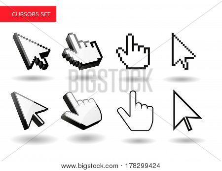 Mouse cursors big set . Pixel , 3d , simple cursors