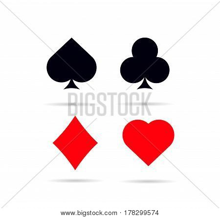 Set of poker card symbols . Hearts diamonds clubs and spades