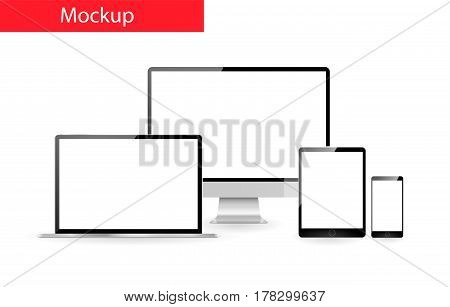 Responsive design mockup .  Set of realistic monitor , laptop tablet and mobile
