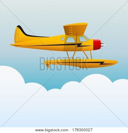 Yellow seaplane. The aircraft in the sky. Vector illustration.