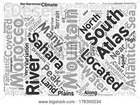 Geography of Morocco Word Cloud Concept Text Background