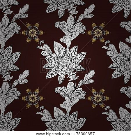 Golden snowflake seamless pattern. Abstract sketch wrapping decoration. Winter symbol Merry Christmas holiday Happy New Year 2018. Vector golden pattern on brown background with golden element.