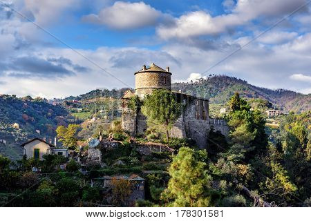Old medieval castle, located on a hill near harbor of Portofino town, Italy