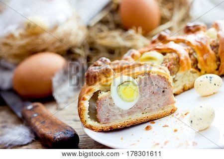Easter meat roll with quail eggs egg-stuffed meatloaf for Easter dinner