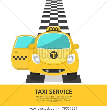 The cheerful car of a taxi with an open passenger door. The passenger vehicle on a chess path. A banner a poster design elements for the business card advertizing. Vector illustration.