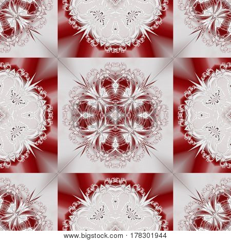 Two-tone seamless pattern with floral circle and square ornament.