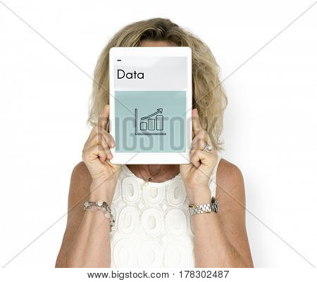 Woman holding network graphic overlay digital device