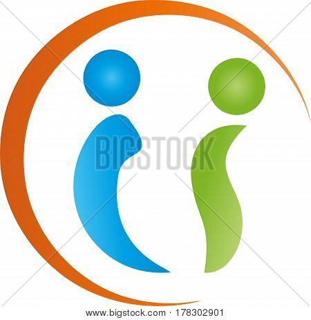 Two people and circle, colored, people and couple logo