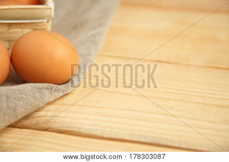 Fresh Farm Eggs On A Wooden Rustic Background