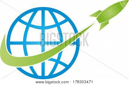 Earth globe and rocket, transport and logistics logo
