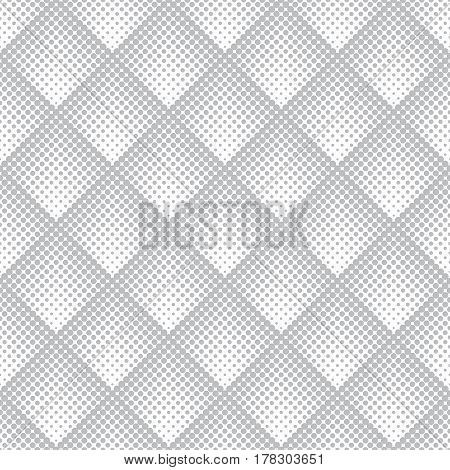 Vector art deco seamless pattern. Infinitely repeating stylish modern texture consisting of dots of the different size which form geometrcial tiles with dotted rhombuses with halftone effect.