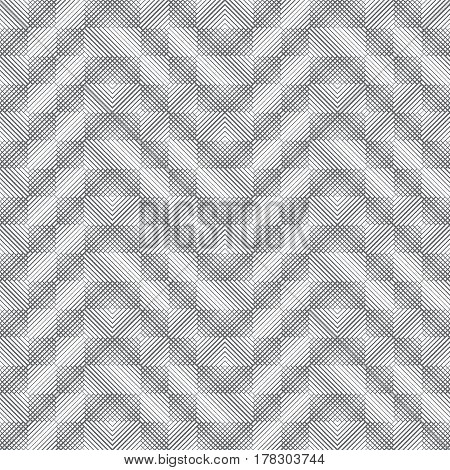 Vector seamless pattern. Infinitely repeating modern geometrical texture consisting of intersecting thin lines different thickness which form zigzag linear grid with corners diagonal strips.